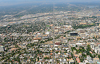 Downtown Denver aerial. Looking west along 6th Ave.  Aug 2013. 81450