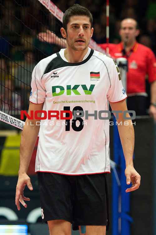 29.12.2013, Lotto Dome, Maaseik<br /> Volleyball, Belgien vs. Deutschland<br /> <br /> Michael Andrei (#18 GER)<br /> <br />   Foto &copy; nordphoto / Kurth