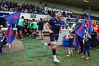 Joe Atkinson of London Scottish enters the stadium during the Greene King IPA Championship match between London Scottish Football Club and Doncaster Knights at Richmond Athletic Ground, Richmond, United Kingdom on 30 September 2017. Photo by Jason Brown / PRiME Media Images.