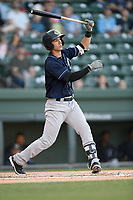 Third baseman Chris Hess (2) of the Charleston RiverDogs bats in a game against the Greenville Drive on Friday, April 27, 2018, at Fluor Field at the West End in Greenville, South Carolina. Greenville won, 5-4. (Tom Priddy/Four Seam Images)