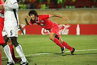 South Korea's Dong Sub Kim (9) celebrates a goal during the FIFA Under 20 World Cup Quarter-final match between Ghana and South Korea at the Mubarak Stadium  in Suez, Egypt, on October 09, 2009.
