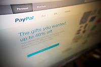 The PayPal welcome screen is seen on Thursday, January 23, 2014. Activist investor Carl Icahn is calling for eBay to spin off PayPal. (© Richard B. Levine)