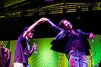SÃO PAULO,SP, 20 DE ABRIL DE 2013 - SHOW EM HOMENAGEM A RAUL SEIXAS - O Presidente do Fã Clube Raul Rock Club, Sylvio Passos e a DJ Vivi Seixas, filha do cantor Raul Seixas durante o Canta Raul projeto que presta homenagem ao cantor Raul Seixas. O festival, organizado pelo Centro Cultural Banco do Brasil-SP, celebra o seu aniversário e os de 40 anos do primeiro álbum de Raul, Krig-ha, Bandolo! No Vale do Anhagabaú na região central da capital paulista, neste sábado, 20. (FOTO RICARDO LOU - BRAZIL PHOTO PRESS)