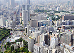 TOKYO, JAPAN - JULY 24: Aerial view of Tokyo Japan from the Tokyo Tower observation deck.