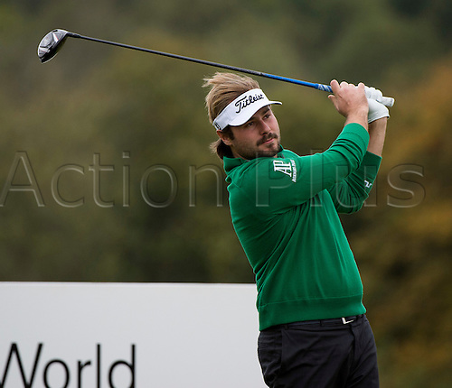 18.10.2014. The London Golf Club, Ash, England. The Volvo World Match Play Golf Championship.  Day 4 quarter final matches.  Victor Dubuisson (FRA) tee shot.