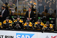 June 12, 2019: Boston Bruins head coach Bruce Cassidy watches the action on the ice during game 7 of the NHL Stanley Cup Finals between the St Louis Blues and the Boston Bruins held at TD Garden, in Boston, Mass.  The Saint Louis Blues defeat the Boston Bruins 4-1 in game 7 to win the 2019 Stanley Cup Championship.  Eric Canha/CSM.