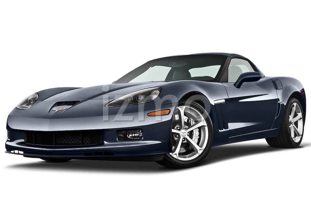 Low aggressive front three quarter view of a 2010 Chevrolet Corvette GS Coupe