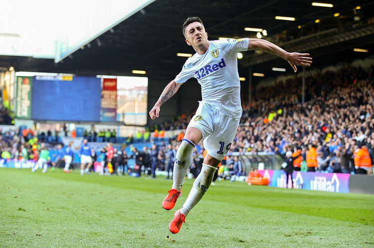 Leeds United's Pablo Hernandez celebrates scoring the winning goal - his side's third <br /> <br /> Photographer Alex Dodd/CameraSport<br /> <br /> The EFL Sky Bet Championship - Leeds United v Millwall - Saturday 30th March 2019 - Elland Road - Leeds<br /> <br /> World Copyright © 2019 CameraSport. All rights reserved. 43 Linden Ave. Countesthorpe. Leicester. England. LE8 5PG - Tel: +44 (0) 116 277 4147 - admin@camerasport.com - www.camerasport.com