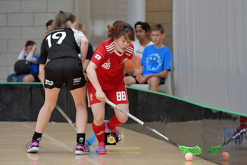 Korea's Jiyeon Park in action during the World Floorball Championships 2017 Qualification for Asia Oceania Region - New Zealand v Korea at ASB Sports Centre , Wellington, New Zealand on Sunday 5 February 2017.<br /> Photo by Masanori Udagawa<br /> www.photowellington.photoshelter.com.