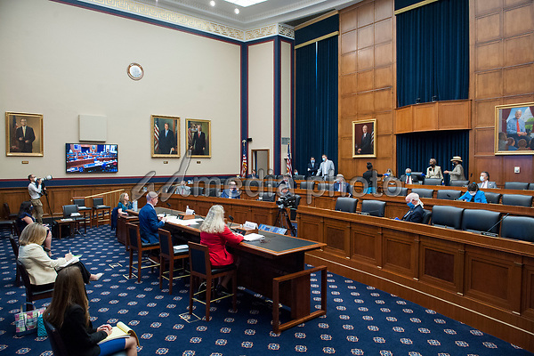 "John Howard MD, MPH,JD, LLM, MBA, Director, National Institute for Occupational Safety and Health, Washington, D.C. (left) and Loren Sweatt Principal Deputy Assistant Secretary, Occupational Safety and Health Administration, Washington, D.C. (right) testify before a United States House Committee on Education and Labor Subcommittee on Workforce Protections Hearing: ""Examining the Federal Government's Actions to Protect Workers from COVID-19"" in the Rayburn House Office Building on Capitol Hill in Washington, D.C., on Capitol Hill in Washington, DC, Thursday, May 28, 2020. <br /> Credit: Rod Lamkey / Pool via CNP/AdMedia"