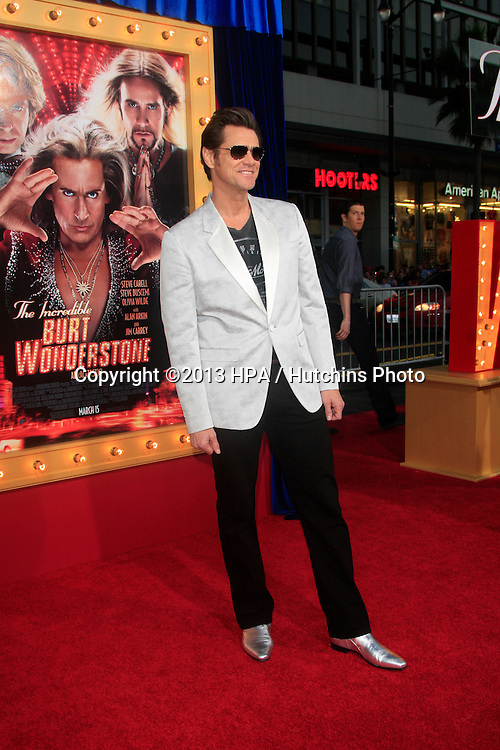 "LOS ANGELES - MAR 11:  Jim Carrey arrives at the World Premiere of ""The Incredible Burt Wonderstone"" at the Chinese Theater on March 11, 2013 in Los Angeles, CA"
