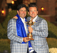 Winning captain Jose Maria Olazabal and Graeme McDowell with the Ryder Cup at the end of Sunday's singles matches at the Ryder Cup 2012, Medinah Country Club,Medinah, Illinois,USA 30/09/2012.Picture: Fran Caffrey/www.golffile.ie.