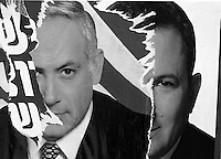 Poster of Labour party leader Ehud Barak, and Likud leader Netanyahu.