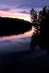 Sunset over Haliburton Highlands lake - vertical format
