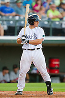 Josh Phegley #2 of the Charlotte Knights at bat against the Indianapolis Indians at Knights Stadium on July 26, 2011 in Fort Mill, South Carolina.  The Knights defeated the Indians 5-4.   (Brian Westerholt / Four Seam Images)