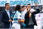 Real Madrid Cristiano Ronaldo, Marcelo and Sergio Ramos during the celebration of the Thirteen Champions League at Cibeles Fountain in Madrid, Spain. May 27, 2018. (ALTERPHOTOS/Borja B.Hojas)