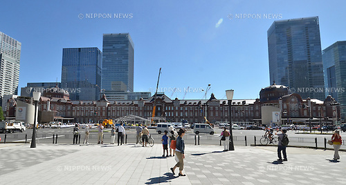 October 1, 2012, Tokyo, Japan - The newly refurbished red-brick building of Tokyo station stands magnificent upon the completion of its 50 billion yen restoration work to its original appearance on Monday, October 1, 2012...A ceremony to celebrate the grand opening of the station's symbolic structure with the attendance of Emperor Akihito was canceled because of unexpected passing of a typhoon on the previous night.Originally built in 1914, the building survived the Great Kanto Earthquake in 1923 but was heavily damaged by U.S. air raids shortly before the end of World War II. After five and a half years of preservation and restoration efforts, the station on the Marunouchi side reopened just two years shy of the railway station's centennial.  (Photo by Kaku Kurita/AFLO) FYJ -mis-