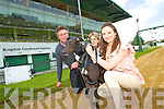 Tom Bambury, greyhound ''Rusheen Lad'' Rosa Bambury and Adrienne Lynch at the Kingdom Greyhound Stadium on Monday.