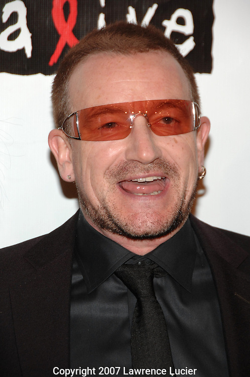 Recording artist Bono arrives at the fourth annual Black Ball to benefit Keep A Child Alive October 25, 2007, at Hammerstein Ballroom in New York City.  (Pictured : BONO).