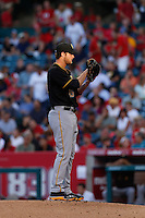 Gerrit Cole #45 of the Pittsburgh Pirates pitches against the Los Angeles Angels at Angel Stadium on June 21, 2013 in Anaheim, California. (Larry Goren/Four Seam Images)