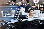 Japan's Emperor Naruhito and Empress Masako wave to well-wishers during their royal parade to mark the enthronement of Japanese Emperor Naruhito in Tokyo, Japan on Sunday, November 10, 2019. (Photo by MATSUO.K/AFLO)