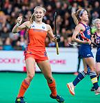 ROTTERDAM - Kyra Fortuin (Ned) heeft gescoord   tijdens de Pro League hockeywedstrijd dames, Netherlands v USA (7-1)  ..COPYRIGHT  KOEN SUYK