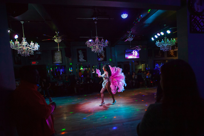 Melanie Machetto, 47, struts across the floor of Francos Norma Jean's Nightclub in Castroville, Calif. on December 18, 2015 during a weekly drag show every Saturday night.<br />