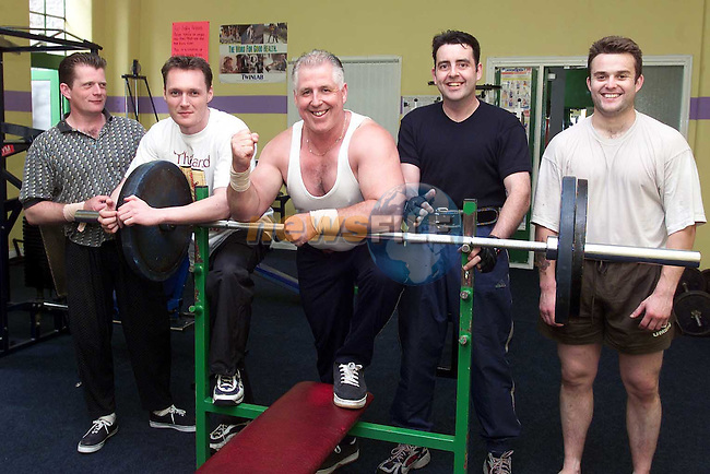 Liam O'Keeffe with Tommy Crilly, Mick Donnelly, Con Kirwan and John Hafford in Mind Body Connection gym..Picture Paul Mohan Newsfile.