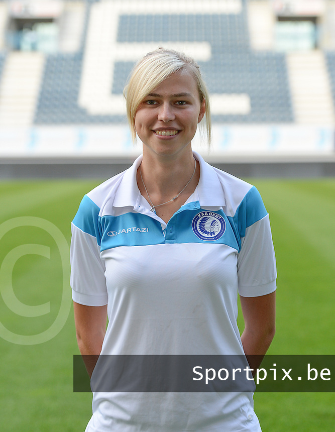 20150821 - GENT, BELGIUM: Gent's Anouk Bonnarens pictured during a press conference about the start of the new Super League season of the women's team KAA Gent Ladies , Friday 21 August 2015 , in Gent. PHOTO DAVID CATRY
