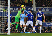 6th February 2019, Goodison Park, Liverpool, England; EPL Premier League Football, Everton versus Manchester City; Everton goalkeeper Jordan Pickford attempts to punch the ball clear