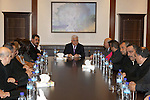 Palestinian President Mahmoud Abbas (Abu Mazen) meets with events for Beit Sahour, in the West Bank city of Bethlehem, on Jan 06, 2013. Photo by Thaer Ganaim