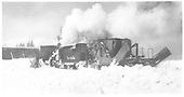 Jordan spreader being pulled by K-36 engine in Cumbres yard.<br /> D&amp;RGW  Cumbres, CO  Taken by Richardson, Robert W.