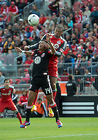 05 May 2012: D.C. United midfielder Andy Najar #14 and Toronto FC foward/midfielder Ryan Johnson #9 in action during an MLS game between DC United and Toronto FC at BMO Field in Toronto..D.C. United won 2-0.