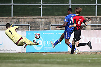 Michael Ogboin of Redbridge scores the first goal for his team and celebrates during Redbridge vs Saffron Walden Town, Essex Senior League Football at Oakside Stadium on 4th August 2018