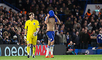 Diego Costa of Chelsea covers his face after a penalty appeal is turned down while Goalkeeper Iker Casillas of FC Porto looks on during the UEFA Champions League group G match between Chelsea and FC Porto at Stamford Bridge, London, England on 9 December 2015. Photo by Andy Rowland.