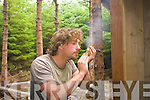 Greg Sommers who is a part-time teacher at Cahersiveen bush craft courses demonstrating how to make a fire in the wilderness
