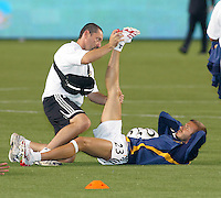 Los Angeles Galaxy midfielder (23) David Beckham stretches before the start of the SuperLiga finals between the Los Angeles Galaxy of MLS and CF Pachuca of FMF at the Home Depot Center, Carson, CA, on August 29, 2007. Pachuca wins 4-3 on penalty kicks after the game finished in a 1-1 tie.