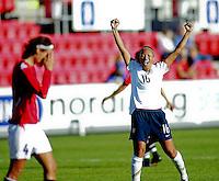 USA's Angela Huckles (16) celebrates behind Norway's Ingvild Stensland. USA 4,  Norway 0, Fredrikstad Stadium, July 2, 2008.