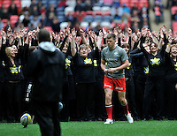London, England. Owen Farrell of Saracens practices his kicking before the Saracens and Harlequins Aviva Premiership with a world record crowd for a club rugby match at Wembley Stadium. 31March 2012 at Wembley Stadium, London,England,