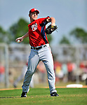 20 February 2011: Washington Nationals' pitcher Jordan Zimmermann takes some fielding practice during Spring Training at the Carl Barger Baseball Complex in Viera, Florida. Mandatory Credit: Ed Wolfstein Photo