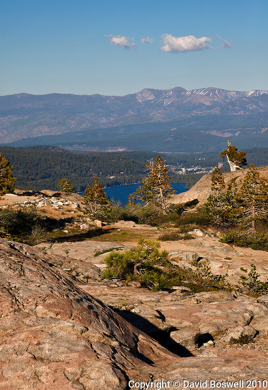 Donner Lake and part of the town of Truckee, California seen from Donner Pass in the Sierra Nevada Mountains.