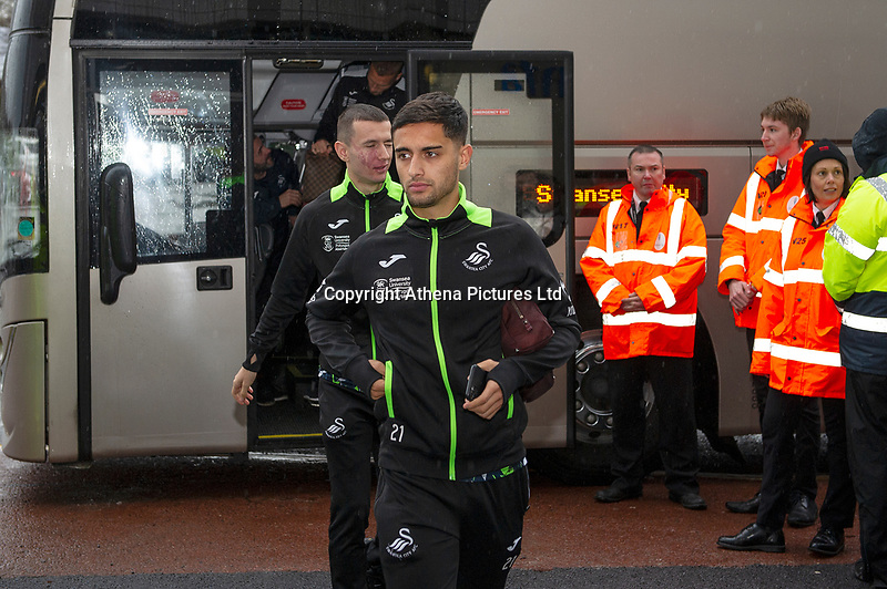 Yan Dhanda of Swansea City arrives for the Sky Bet Championship match between Swansea City and Millwall at the Liberty Stadium in Swansea, Wales, UK. Saturday 23rd November 2019