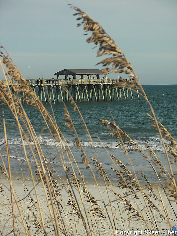 Sea oats, pier and beach
