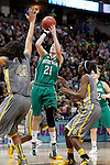 03 APR 2012:  Natalie Novosel (21) of the University of Notre Dame jumps to shoot over Brittney Griner (42) of Baylor University during the Division I Women's Basketball Championship held at the Pepsi Center in Denver, CO.  Jamie Schwaberow/NCAA Photos