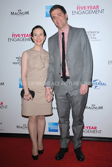 """WWW.ACEPIXS.COM . . . . . .April 18, 2012...New York City....Nicholas Stoller with wife Francesca Delbanco arriving to the Universal Pictures premiere of """"The Five Year Engagement"""" for the opening of the Tribeca Film Festival at the Ziegfeld Theatre on April 18, 2012  in New York City ....Please byline: KRISTIN CALLAHAN - ACEPIXS.COM.. . . . . . ..Ace Pictures, Inc: ..tel: (212) 243 8787 or (646) 769 0430..e-mail: info@acepixs.com..web: http://www.acepixs.com ."""