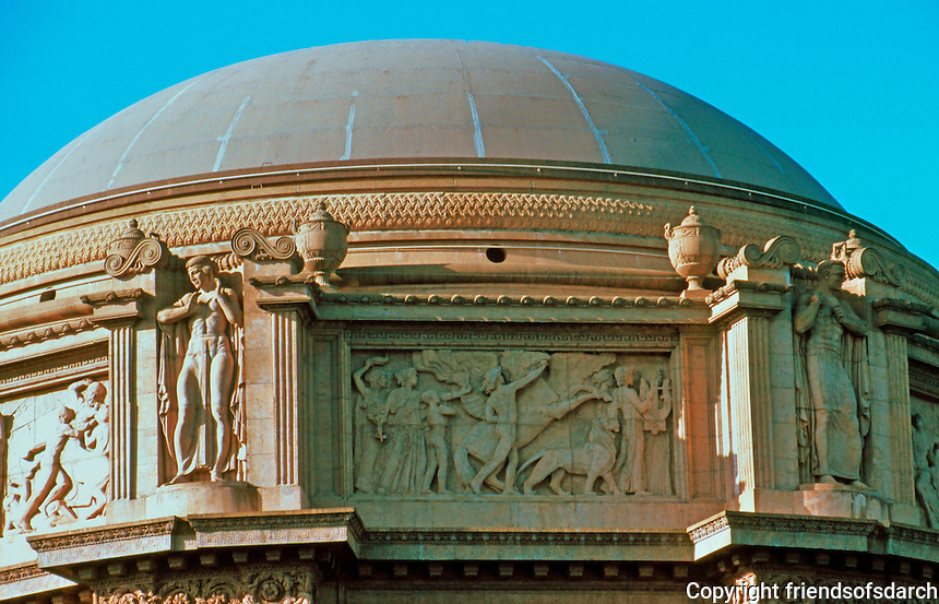 Bernard Maybeck: Palace of Fine Arts, San Francisco. Close up of dome. Photo '83.