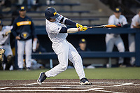 Michigan Wolverines shortstop Riley Bertram (12) swings the bat during the NCAA baseball game against the Eastern Michigan Eagles on May 8, 2019 at Ray Fisher Stadium in Ann Arbor, Michigan. Michigan defeated Eastern Michigan 10-1. (Andrew Woolley/Four Seam Images)