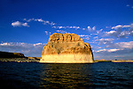 AZ, Arizona Lake Powell, near Grand Canyon National Park, scenic, Lone Rock on Utah border .Photo Copyright: Lee Foster, lee@fostertravel.com, www.fostertravel.com, (510) 549-2202.Image: azlkpo205
