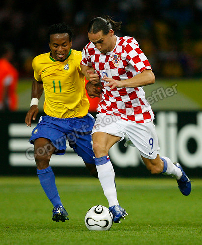 Jun 13, 2006; Berlin, GERMANY; Brazil midfielder (11) Ze Roberto and Croatia forward (9) Dado Prso vie for the ball during second half play in first round group F action of the 2006 FIFA World Cup at FIFA World Cup Stadium Berlin. Brazil defeated Croatia 1-0. Mandatory Credit: Ron Scheffler-US PRESSWIRE Copyright © Ron Scheffler.