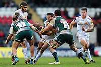 Phil Dollman of Exeter Chiefs takes on the Leicester Tigers defence. Aviva Premiership match, between Leicester Tigers and Exeter Chiefs on March 6, 2016 at Welford Road in Leicester, England. Photo by: Patrick Khachfe / JMP
